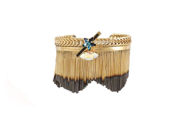 Crystals Fringe Bracelet - 24 Kt Gold plated shading brass.Swarovski Crystals.Hand Made in Italy