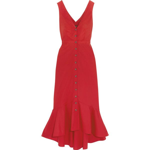 Saloni Zoey cutout cotton-blend poplin midi dress ($575) ❤ liked on Polyvore featuring dresses, saloni, midi day dresses, red cut-out dresses, flutter-sleeve dress, flounce dress and frilly dresses