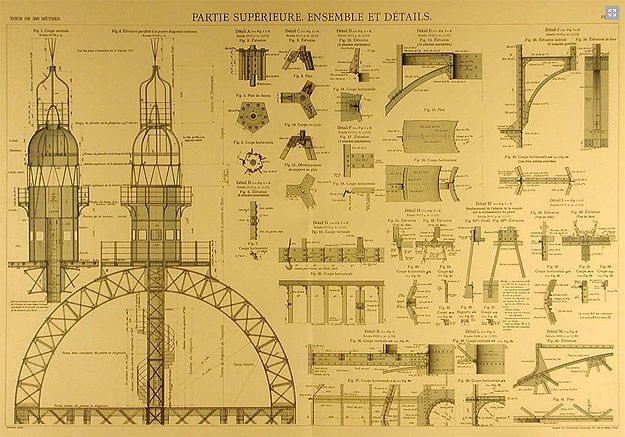 The Official Blueprints for the Eiffel Tower. The Eiffel Tower was built in 1887 by architect Alexandre Gustave Eiffel and his team.  It took two years to complete the construction. It was made using 9,441 tons of wrought iron.  About 60 tons of paint are required to paint it, and it's painted once every 7 years (with brushes).