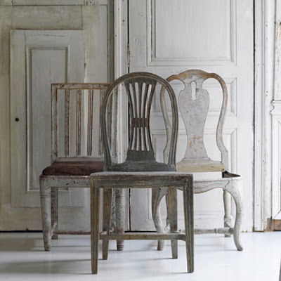 Gustavian chairs---paint Queen Anne chairs a white-washed gray for kitchen table