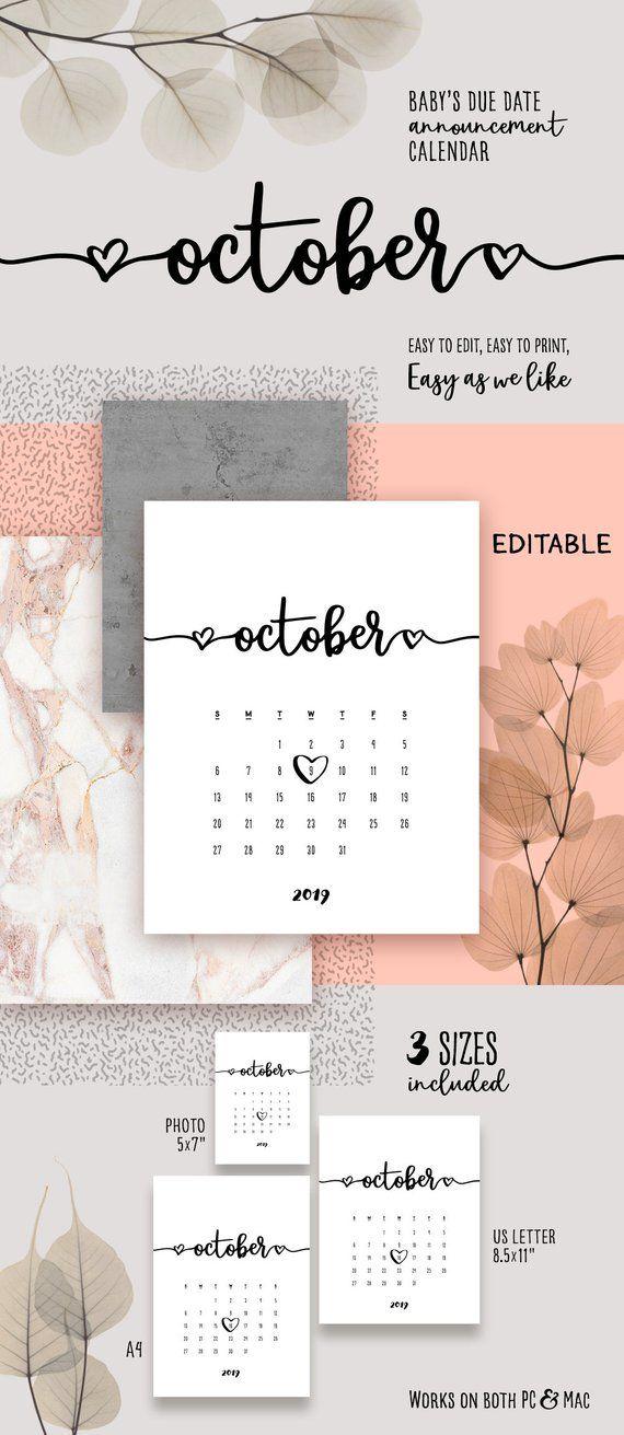 c13dbebf8 OCTOBER 2019 Printable Pregnancy Calendar Template Lovely Baby Due Date  Announcement Pregnancy Calen