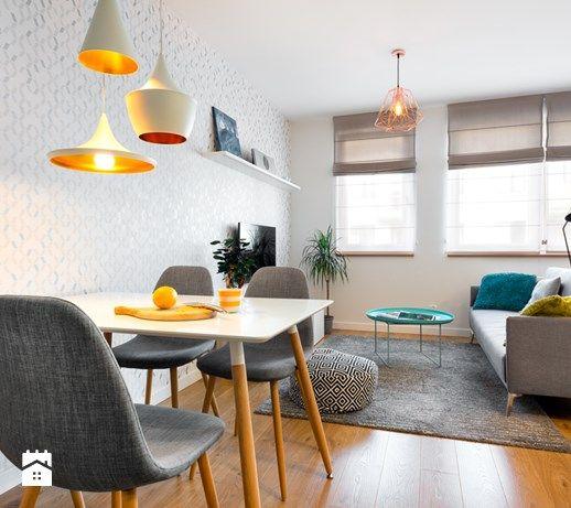 biało, szaro, przytulnie - Salon, styl skandynawski - zdjęcie od redcubedesign.pl