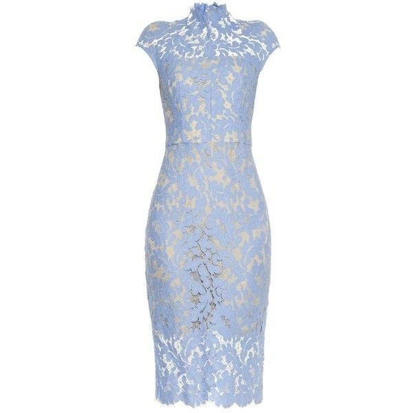 Lover Warrior French-lace midi dress ($375) ❤ liked on Polyvore featuring dresses, light blue, lace pencil dress, sheer lace dress, mid calf dresses, blue pencil dress and midi dress