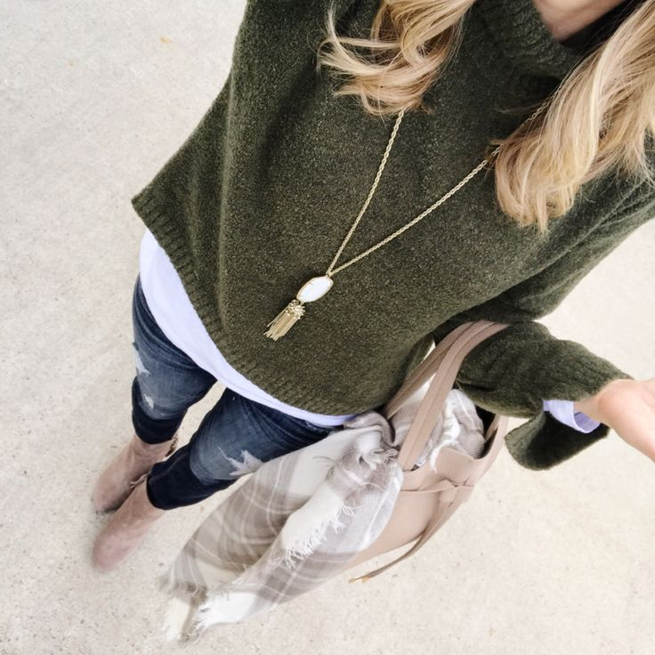 olive green sweater blanket scarf and booties