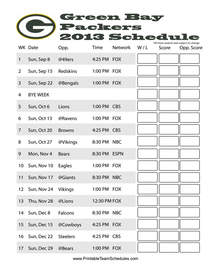 2013 Green Bay Packers Schedule