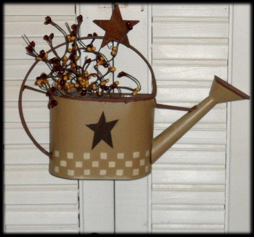 Country Primitive Watering Can With Berries Wall Decor