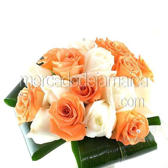 Ramos de Novia Naranja y Blanco| Envia Flores