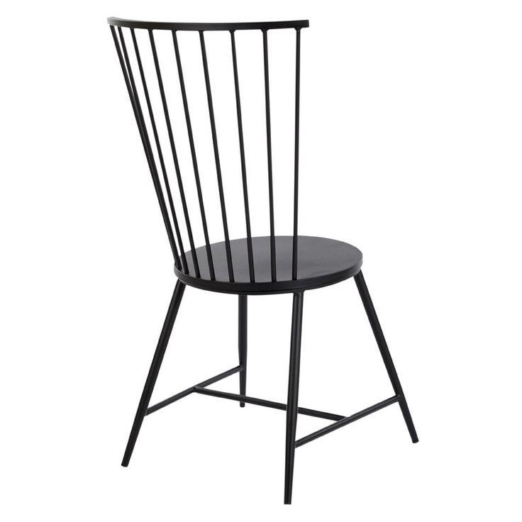 Beckman metal windsor back side chair in black dining