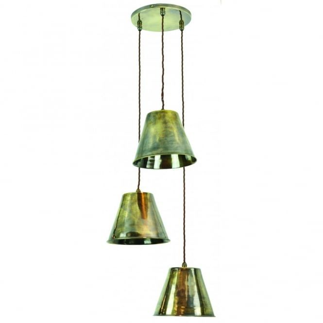 A vintage and functional style ceiling pendant cluster perfect for hospitality lighting in pubs, bars and restaurants as well as lighting around the home. It is made in solid brass and finished in an antique brass finish. The fittings are all supplied complete with long lasting, very low energy, dimmable LED spotlight bulbs with a maximum light output of 350 lumens (roughly equivalent to a 50 watt halogen spotlight bulb). The cluster pendant shown here has 3 individual pendants suspended…