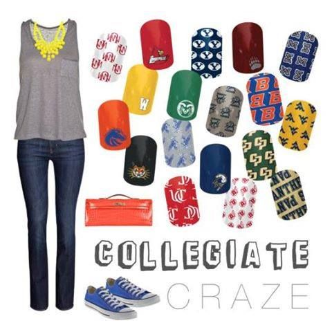 College nails! Back to school! http://nodaknails.jamberrynails.net/category/collegiate