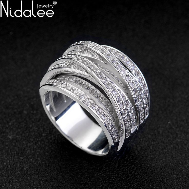 Nidalee 2017 Hot Luxury Zircon Rings For Women Engagement Female White Gold Plated Zirconia CZ Diamond Weddings Rings Jewelry