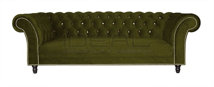 Sofy Stylowe - Sofa Chesterfield Kent - Ideal Meble oliwkowa sofa chesterfield, Velvet chesterfield sofa, olive