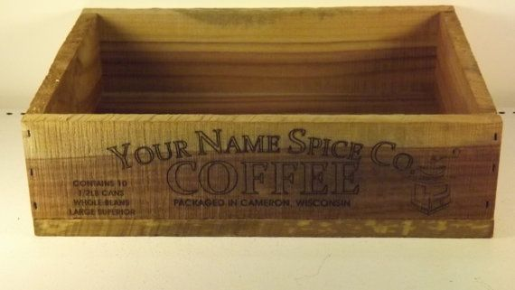 Antique inspired personalized coffee shipping crate by GWCcakepans, $25.00