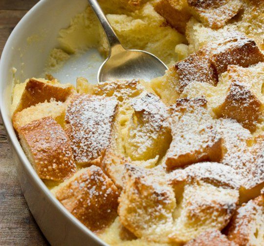 Eggnog Breakfast Bread Pudding for a holiday breakfast! Just add berries on the side and a plate of bacon and your set with a decadent breakfast for a crowd done ahead of time!
