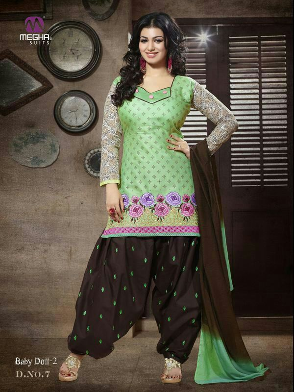 #cotton patiala Unstitched salwar kameez #suit Dashing Brown & Green Patiala salwar kameez set with waistcoat. pair with matching dupatta.Salwar Include Dupatta fabric, Unless Specified.  Available in 52% Discount @aimdeals