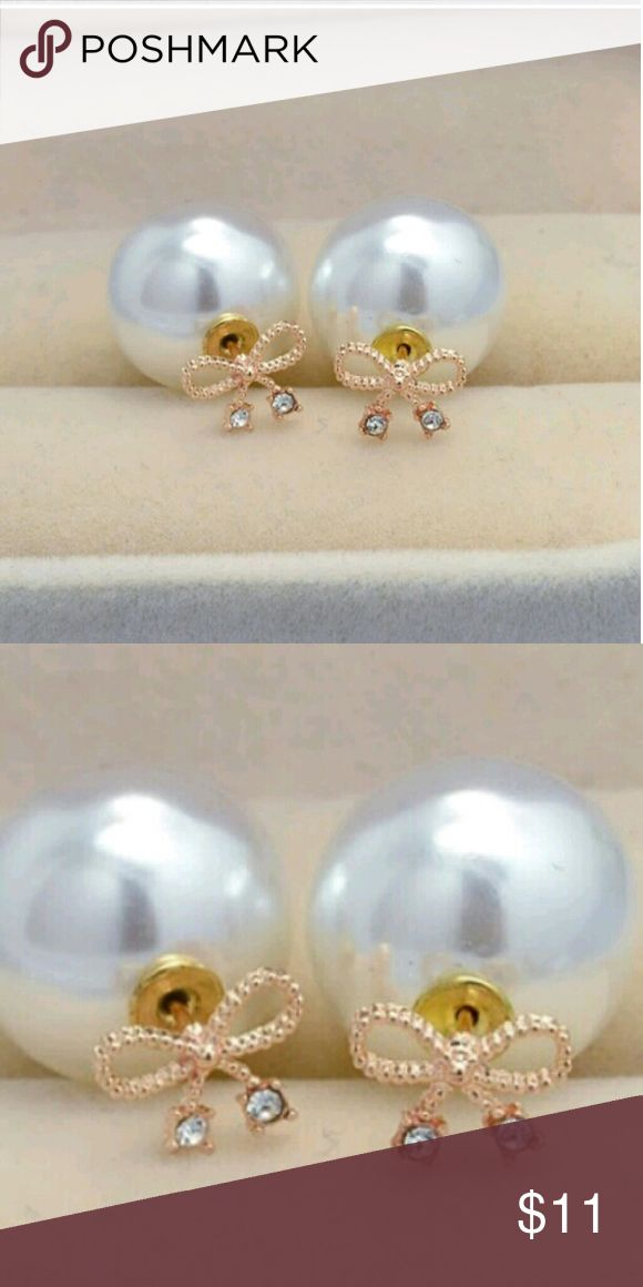 Diamond Bow Double Sided Earrings Double Sided earrings. Big pearl side for a big formal occasion & small gold glitzy bow side with tiny diamond at each bows end.  Only 3 LEFT ✨OFFERS ARE WELCOME✨ Jewelry Earrings
