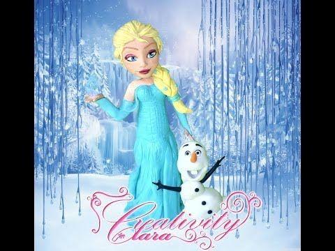 Tutorial Elsa Frozen cake topper in porcellana fredda per torte in pasta di zucchero - YouTube