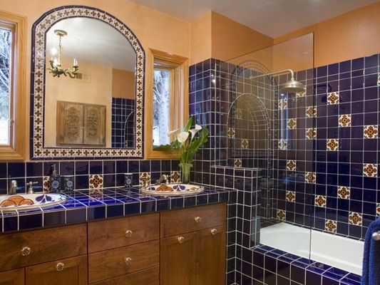 Beautiful Bathroom Tile Work This Traditional Mexican Style Bathroom Features Handpainted Sinks And A Custom Vanity Surrounded By Detailed Tile Work