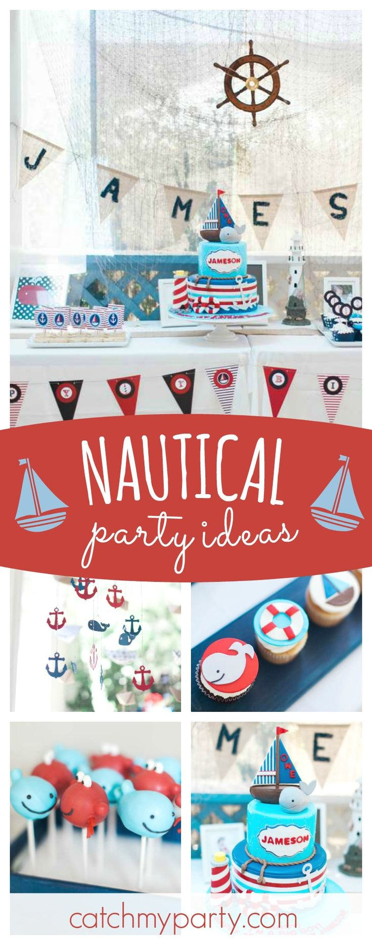 Don't miss this wonderful Nautical 1st birthday party. The cake pops are adorable!! See more party ideas and share yours at CatchMyParty.com