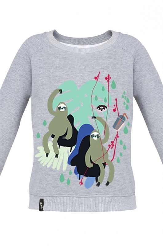 MATRYOSHKA ATTENTION SLOTH  Very feminine sweatshirt made of high quality fabric in gray. Beautifully finished, with a fashionable cut, specially designed with comfort in mind. Composition: 90% cotton, 10% polyester. Durable print. Created specifically for Meet The Llama by an amazing visual designer - Misty Czuż, who's truly the nicest person, excellent at her job and is constantly involved in new creative projects. Misty 's graphics are characterized by the forest life. #meetthellama