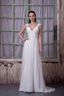 Sheath/Column V-neck Satin Chiffon Sweep/Brush Train Applique Wedding Dress
