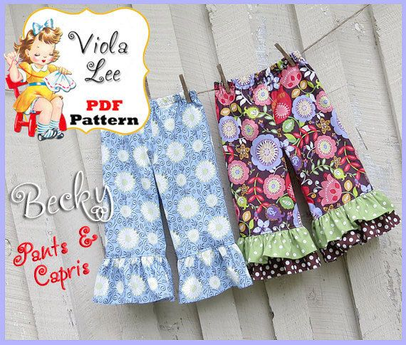 Becky... Girl's Ruffled Pants Pattern. Capris by ViolaLeePatterns