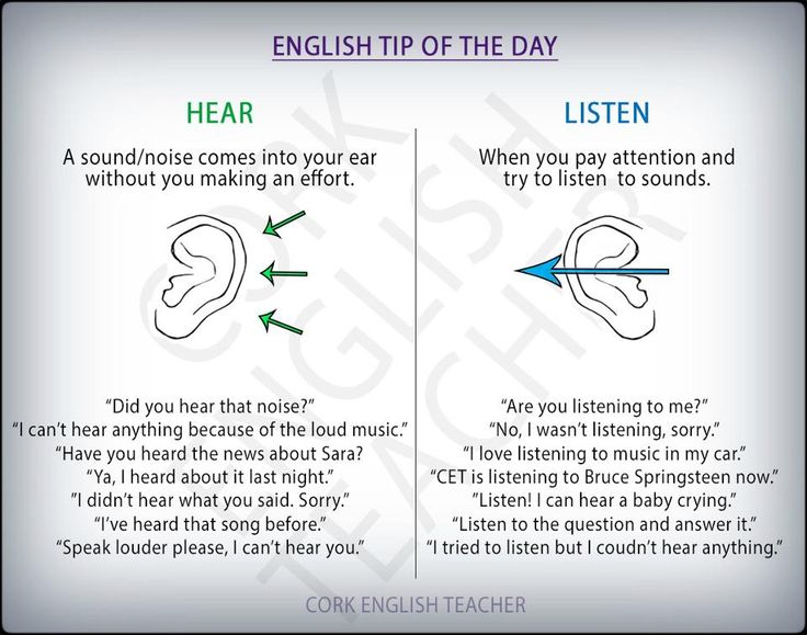 HEAR vs LISTEN #verbs #grammar #ELT        Repinned by Chesapeake College Adult Ed. We offer free classes on the Eastern Shore of MD to help you earn your GED - H.S. Diploma or Learn English (ESL).  www.Chesapeake.edu