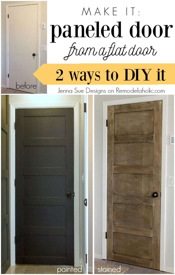 Update a plain hollow core door into a beautiful 5 panel door, either painted or stained, with this detailed tutorial. The makeover starts at just $12!