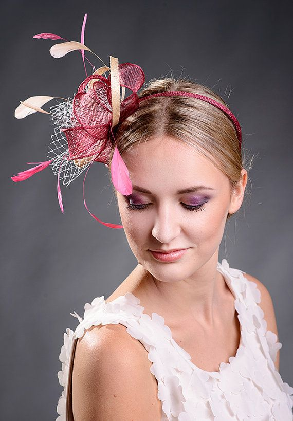 Beige and burgundy fascinator for wedding races by MargeIilane