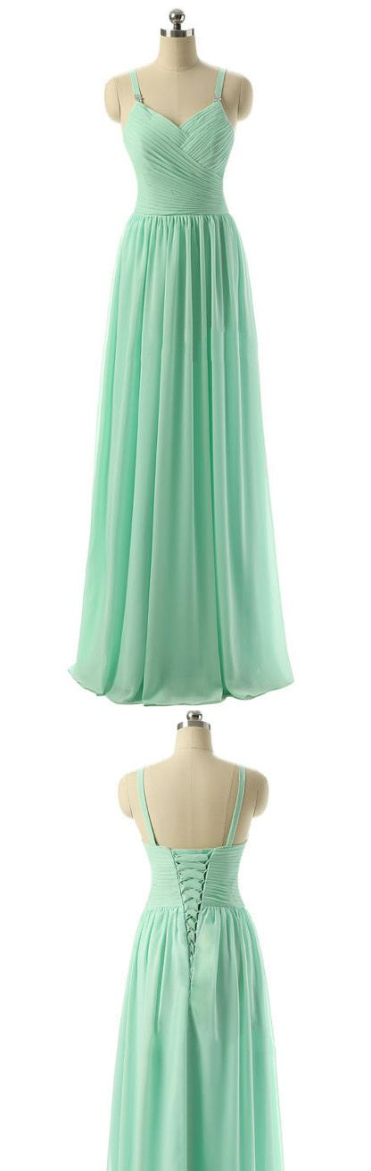 Mint Bridesmaid Dress with Ruching Detail, Discount V-neck Bridesmaid Dress, Long Chiffon Bridesmaid Dresses, #01012729