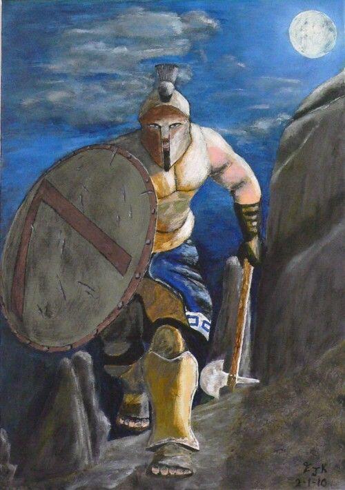 Spartan Warrior at night by ellenisworkshop on Etsy