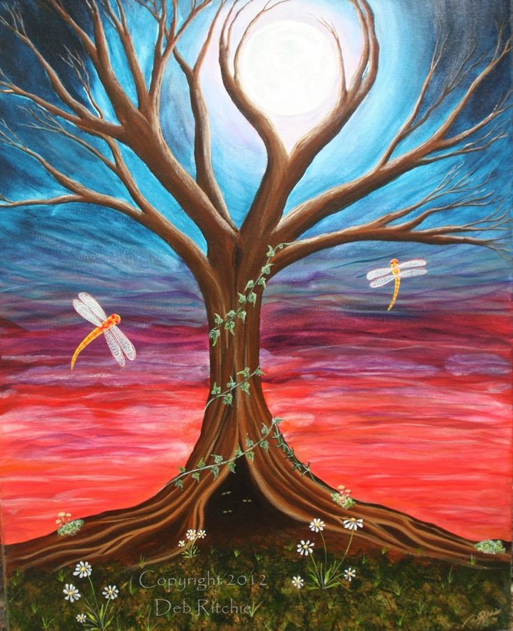 """ORIGINAL Acrylic on Canvas Painting - Ethereal Forest Moon Dragonfly Art 16 x 20"""". $290.00, via Etsy."""