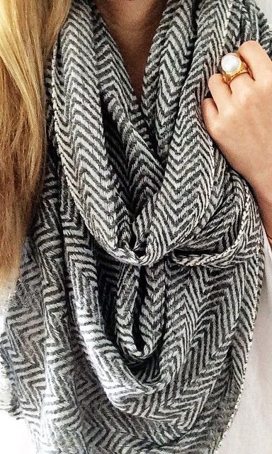 Cashmere, herringbone-printed scarf. So cozy and cool.