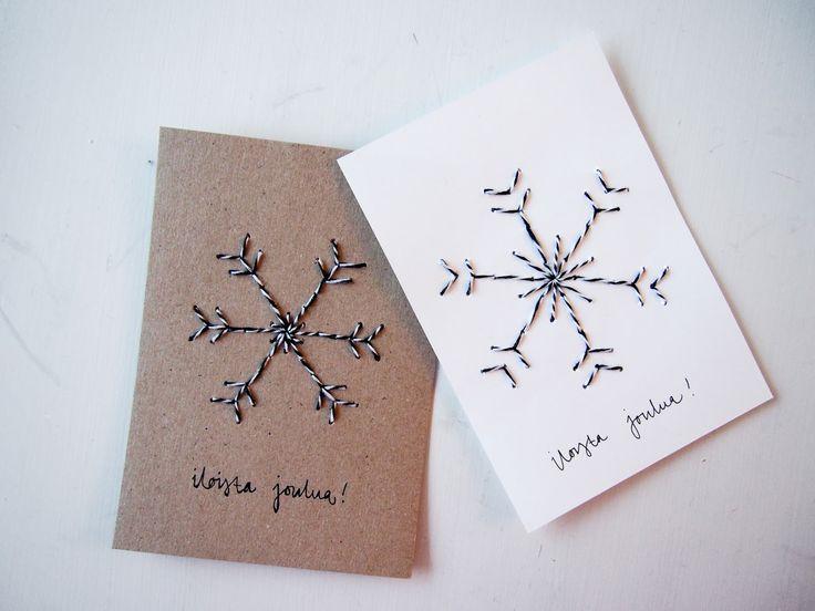 Nämä joulukortit syntyvät helposti, jos vain kaapista löytyy neula ja lankaa! Suunnittele ensin l...