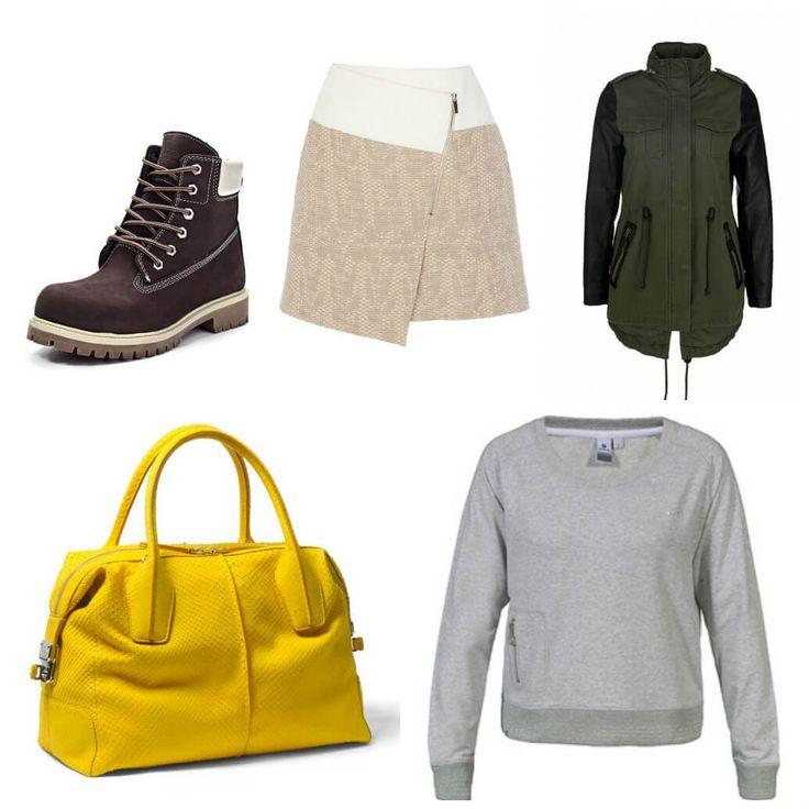 короткая твидовая юбка с запахом, ботинки на шнуровке, куртка болотного цвета, серый свитшот, ярко-желтая сумка