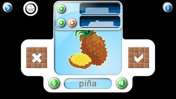 Professor Ninja Spanish / Pronunciation: You can record each word or phrase yourself, and compare your recording to the original.