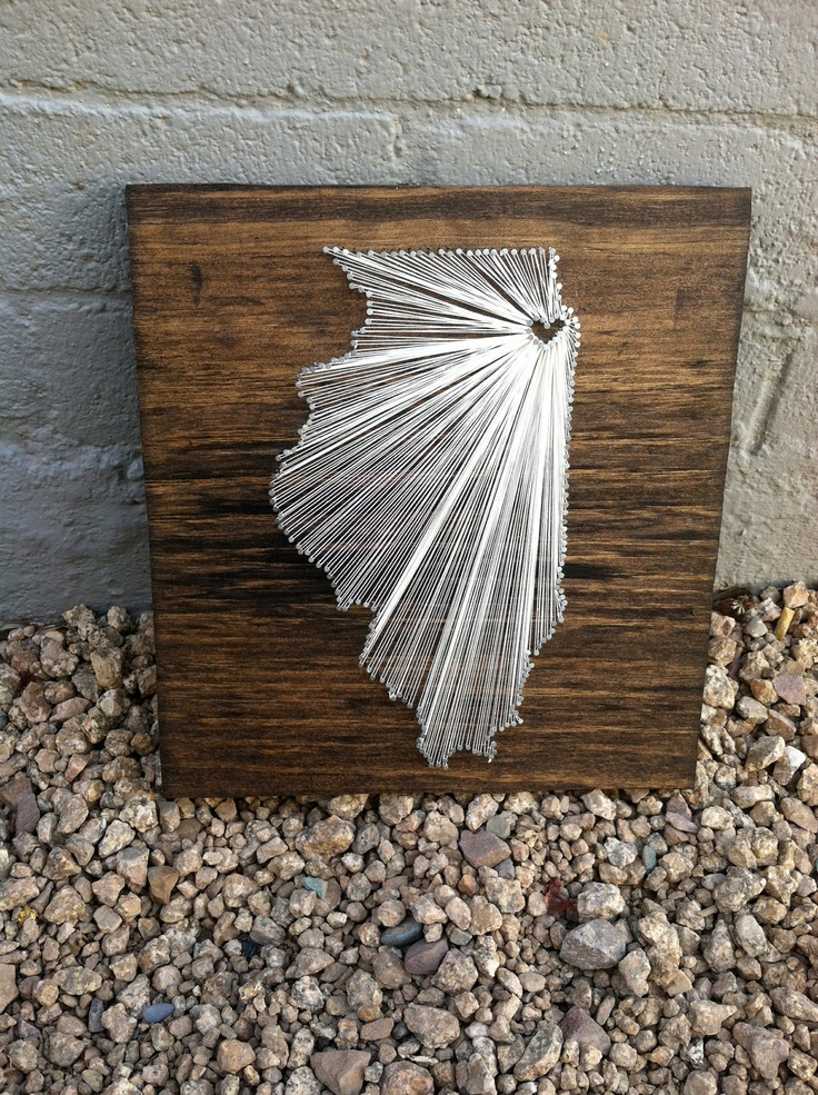 I Love My State (Chicago, Illinois) 12x 12. $35.00, via Etsy.