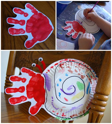 Paper plate handprint hermit crab for kids #ericcarle