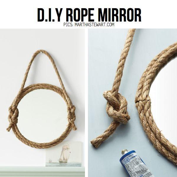 Un adorno bonito y super necesario puede ser este espejo colgante. Para este DIY solo necesitan algùn cordon y pegamento