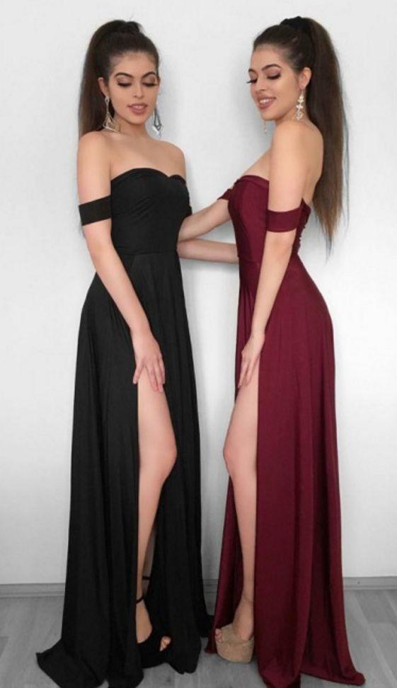 59f3b31fbe87 Sheath Off-the-Shoulder Black Elastic Satin Prom Dress with Split ...