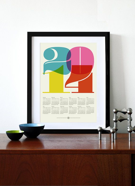 Must have this for my office. 2014 calendar print poster Mid Century Modern vintage by yumalum, $27.00