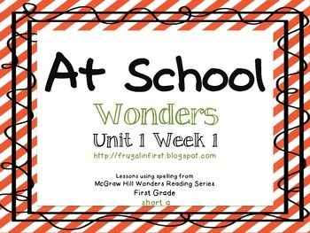 FREEBIE!!! This packet is filled with activities to go along with Unit 1 Week 1 from the McGraw-Hill WONDERS reading series for first grade. The spelling pattern is short a.