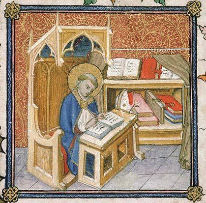 manuscritaint Augustin écrivant à côté d'un armarium (armoire à livres), protégé par un rideau  Livre de prières de Clément VII  Avignon, vers 1378-1383  Avignon, Bibl. mun., ms. 6733, f. 55