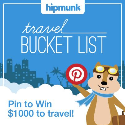 Pin for your chance to win $1,000 for travel anywhere on your bucket list from Hipmunk! #HipmunkBL