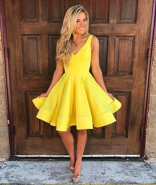 31246521e139 Cute yellow v neck short prom dress, yellow homecoming dress | My ...