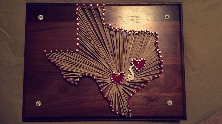 "Texas string art for a ""long"" distance relationship"