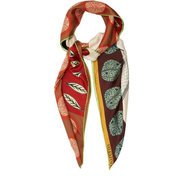 Valentino Counting-print silk scarf (335 JOD) ❤ liked on Polyvore featuring accessories, scarves, multi, long scarves, silk shawl, valentino scarves, multi colored scarves and silk scarves