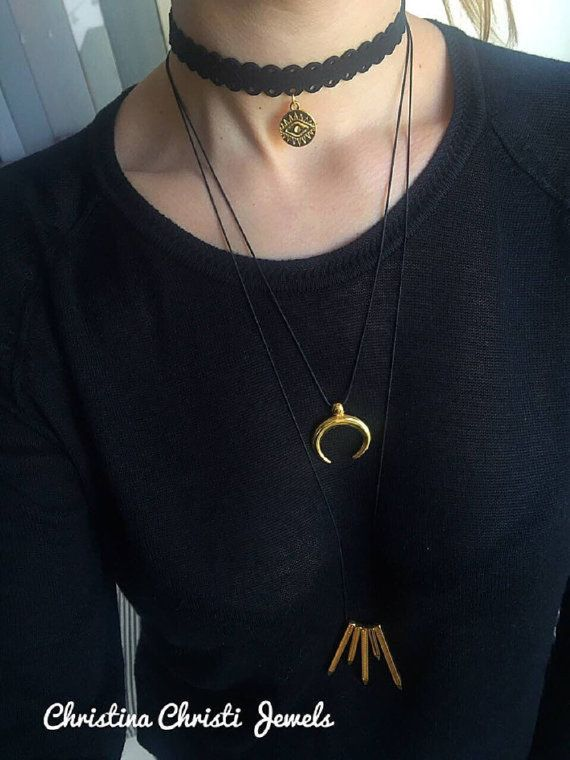 Gold Horn Necklace Moon Necklace Double by ChristinaChristiJls