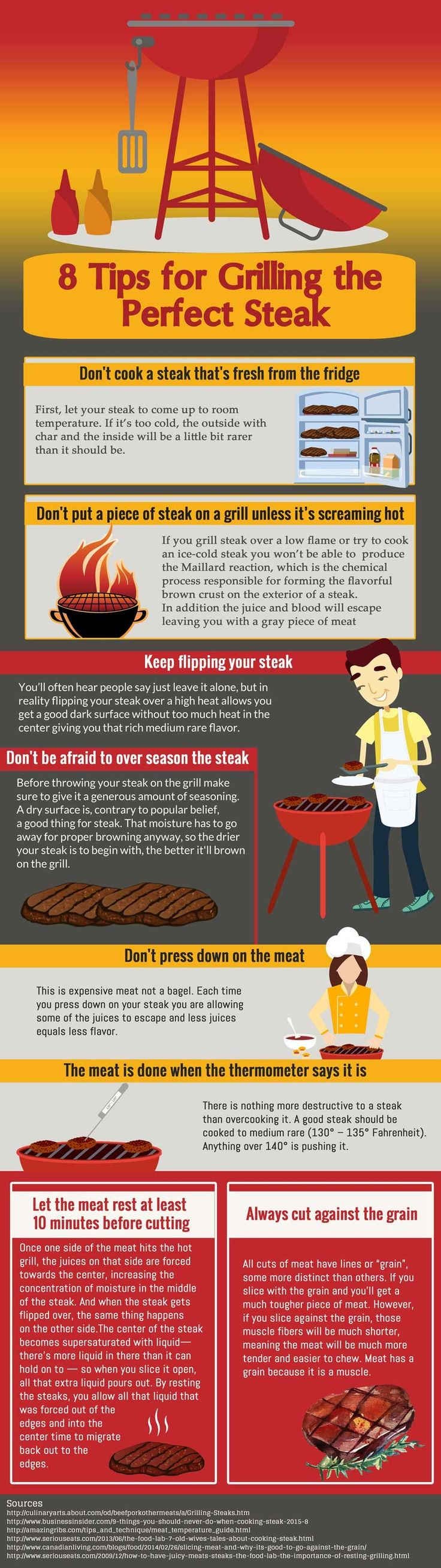 8 Steps To Grilling The Perfect Steak #infographic #infografía