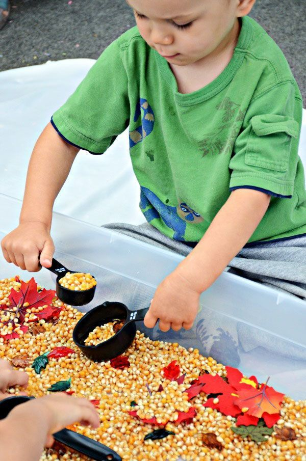 Kids will learn math concepts (measuring, volume) with this awesome fall-themed sensory bin, and they won't even know it.